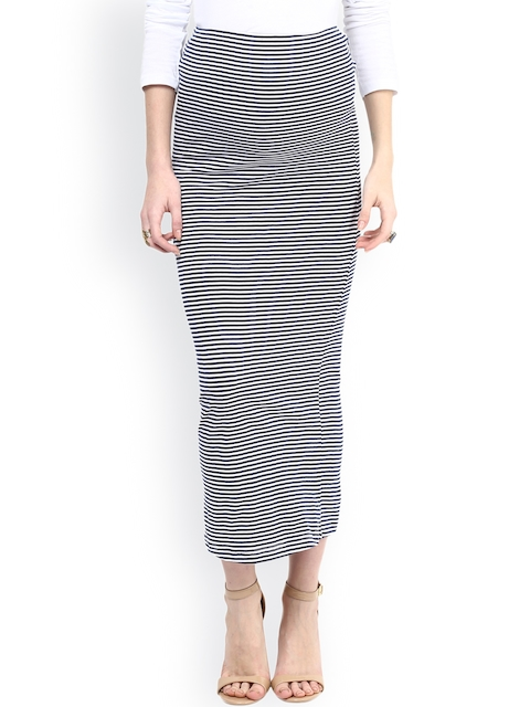 Mamacouture Navy & White Striped Maternity Midi Skirt