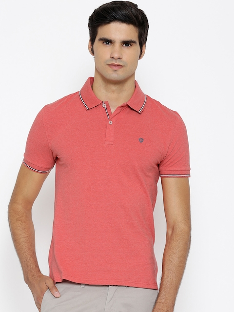 Celio Men Coral Red Solid Polo Collar T-shirt  available at myntra for Rs.909