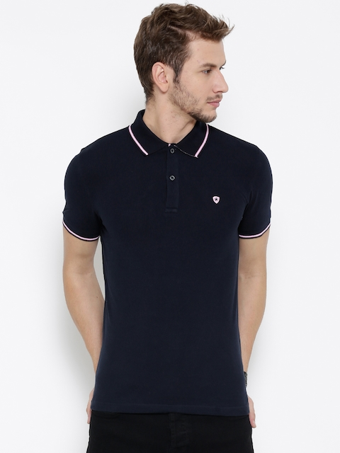Celio Men Navy Solid Polo Collar T-shirt  available at myntra for Rs.909