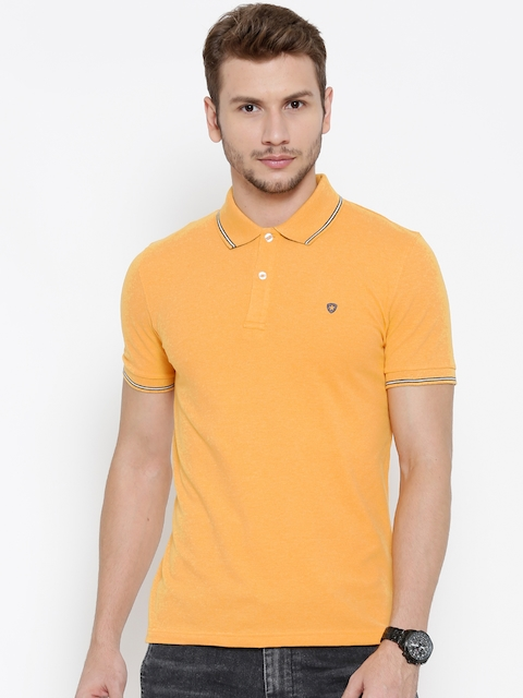 Celio Men Yellow Solid Polo Collar T-shirt  available at myntra for Rs.779
