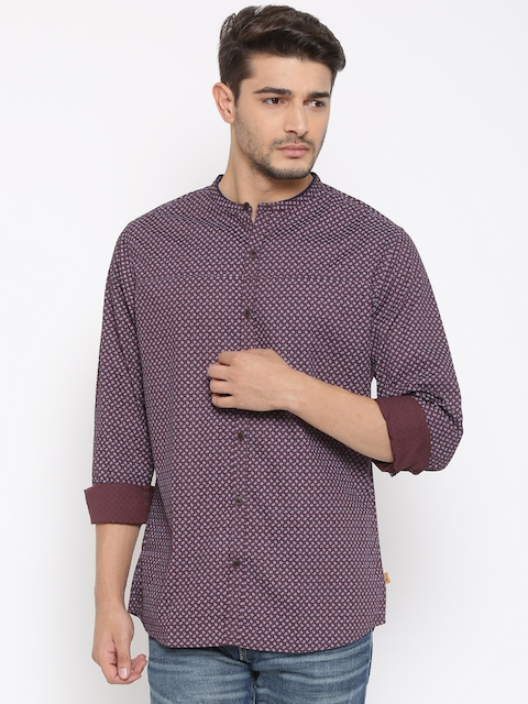 United Colors of Benetton Men Burgundy Printed Casual Shirt