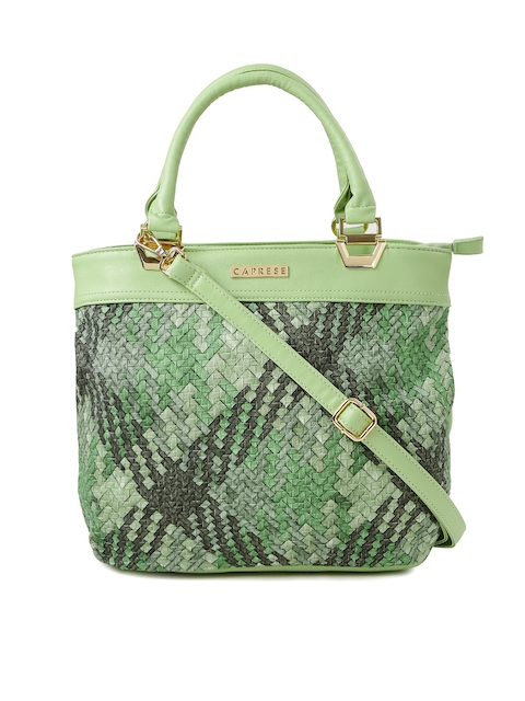 Caprese Green & Grey Patterned Handbag