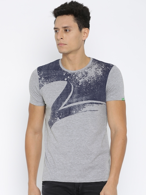 SPYKAR Men Grey Printed T-shirt
