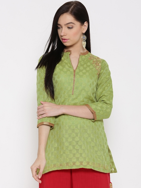 Biba Green Embroidered Kurti