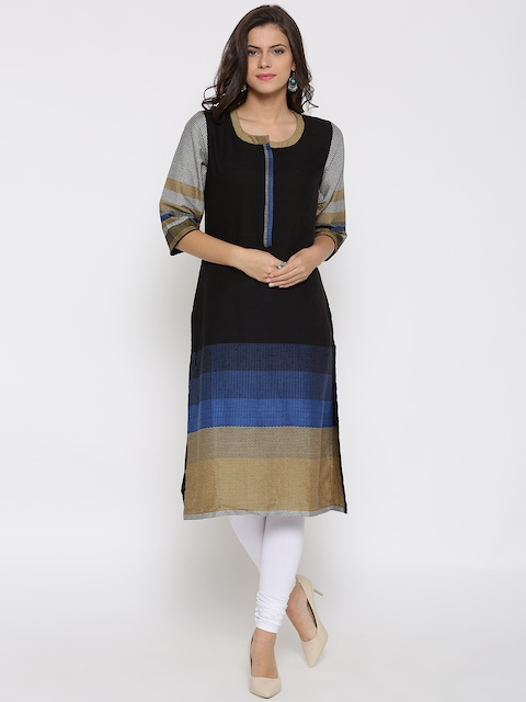 Biba Women Black Patterned Straight Kurta
