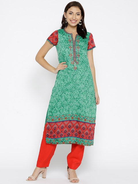 Biba Women Green Printed Straight Kurta
