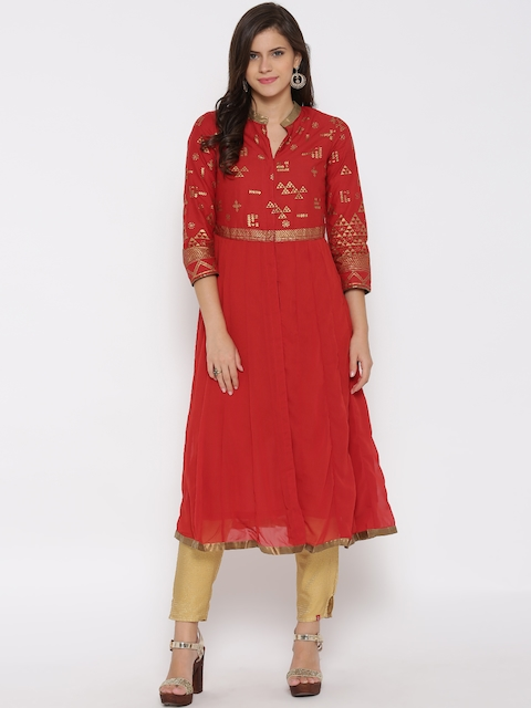 Biba Women Red Printed Anarkali Kurta  available at myntra for Rs.1199
