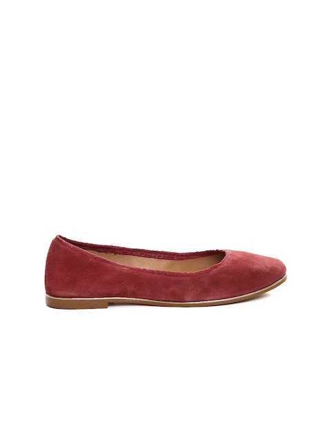 Carlton London Women Maroon Suede Ballerinas