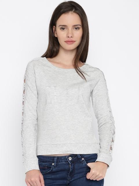 Elle Women Grey Melange Lace Trim Sweatshirt