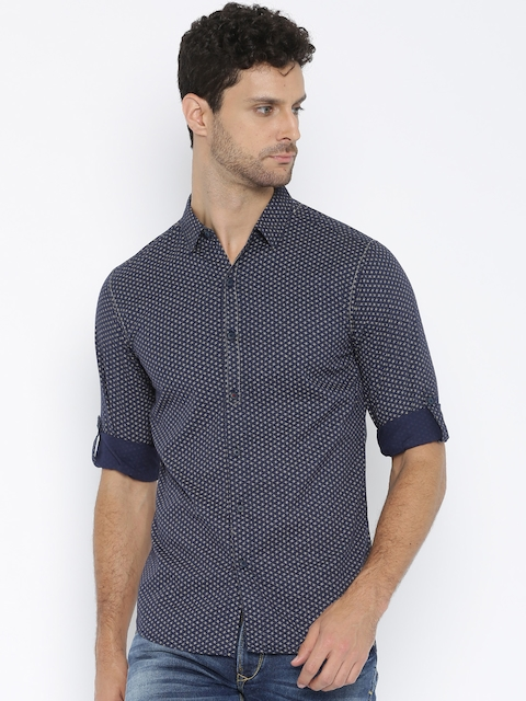 SPYKAR Blue Printed Casual Shirt
