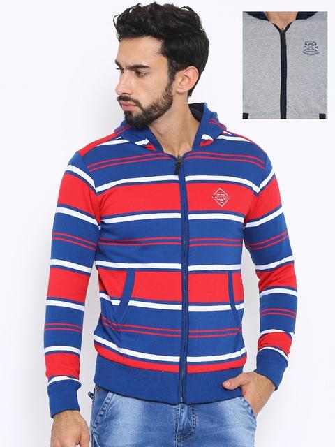 Status Quo Men Grey Colourblocked Front Open Reversible Hooded Sweatshirt