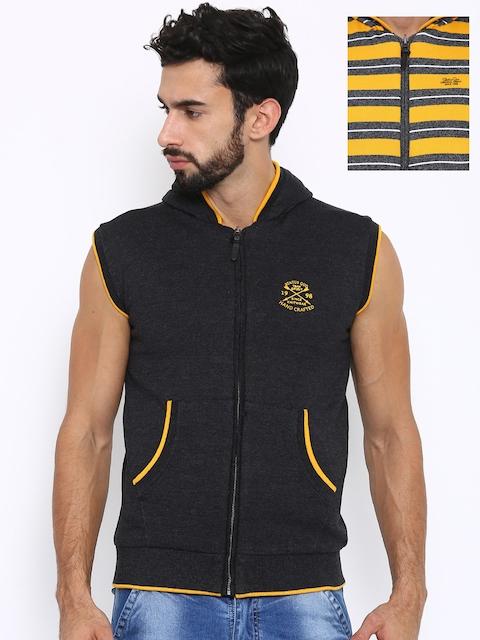 Status Quo Men Charcoal Solid Front Open Sweatshirt