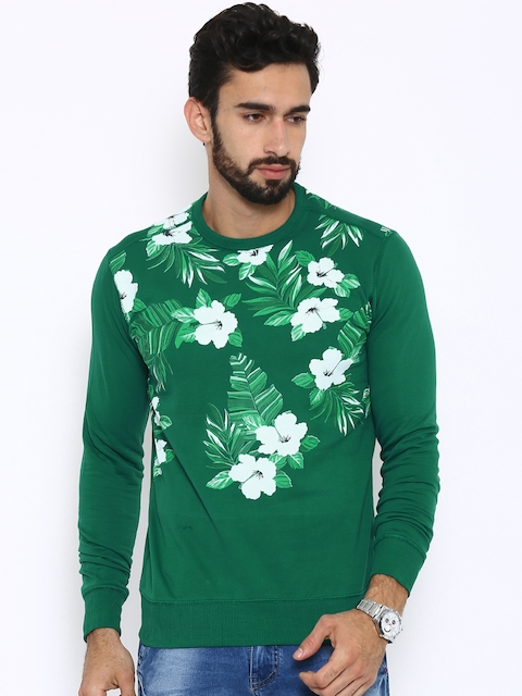 Status Quo Men Green Printed Pullover Sweatshirt