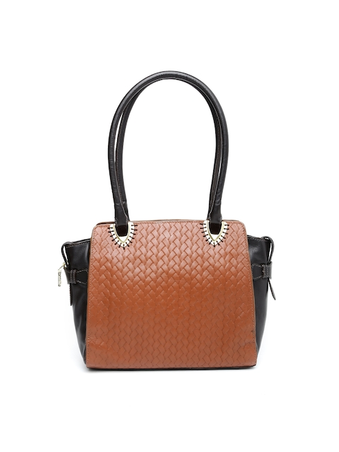 Hidesign Brown Handcrafted Textured Leather Shoulder Bag