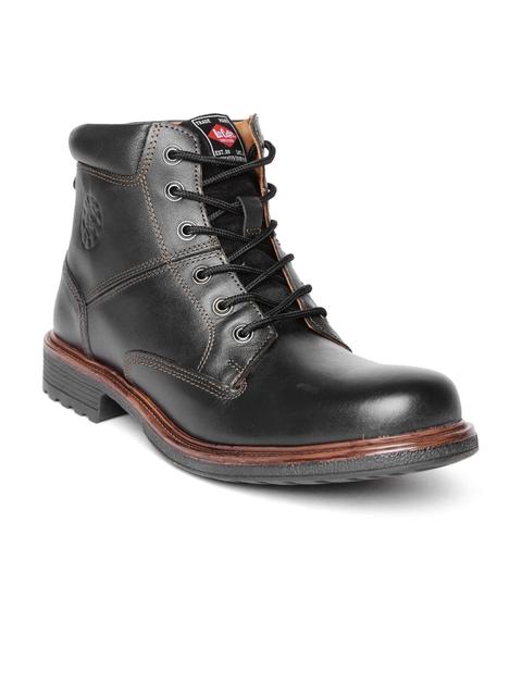 Lee Cooper Men Black Solid Mid-Top Flat Boots