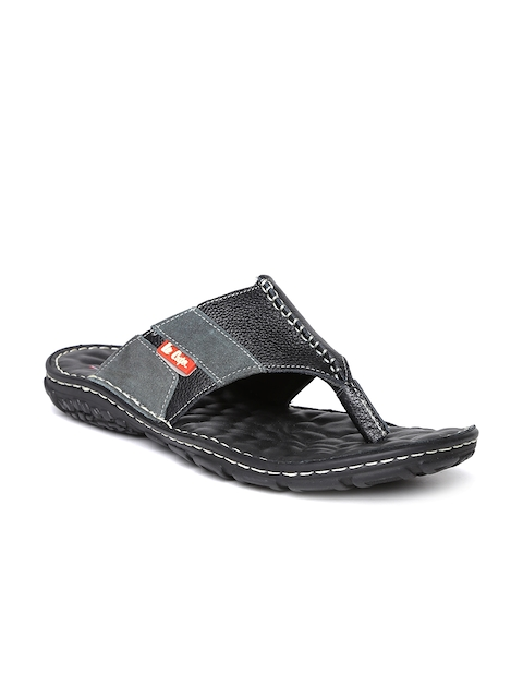Lee Cooper Men Black Leather Sandals  available at myntra for Rs.1274