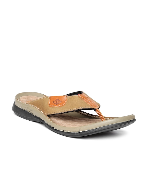 Lee Cooper Men Olive Brown Leather Sandals  available at myntra for Rs.1274