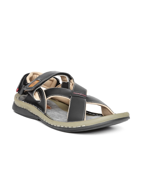 Lee Cooper Men Black Leather Sandals  available at myntra for Rs.1349
