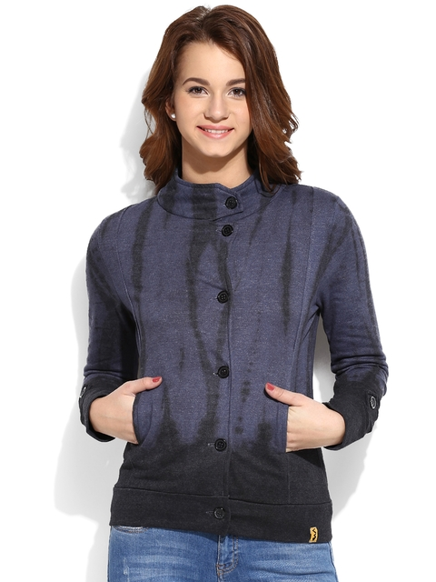 Campus Sutra Black & Blue Tie & Dye Print Jacket