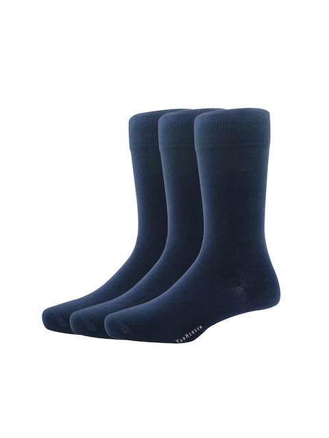Van Heusen Pack Of 3 Men Navy Blue Solid Calf Length Socks