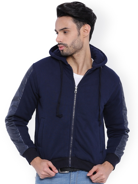 Campus Sutra Navy Hooded Bomber Jacket