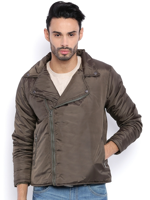 Campus Sutra Olive Green Quilted Bomber Jacket