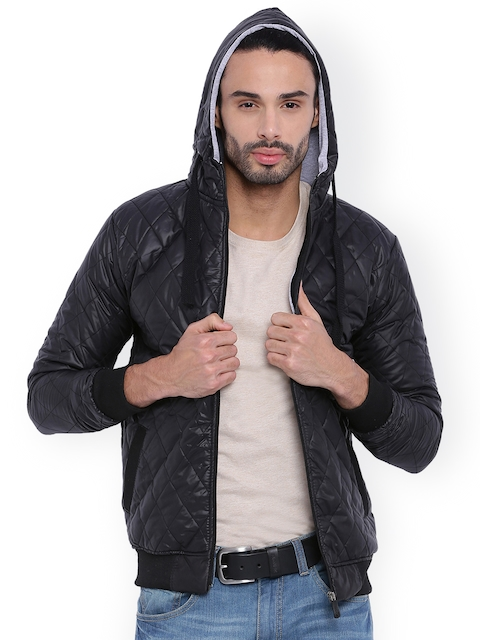 Campus Sutra Black Hooded Quilted Jacket