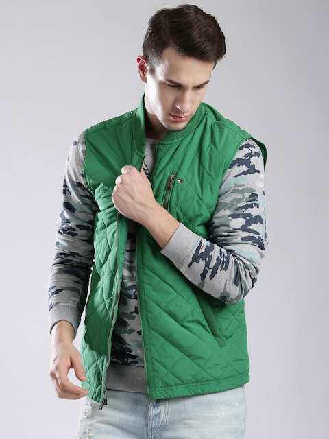Tommy Hilfiger Green Sleeveless Quilted Jacket