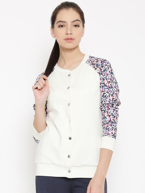 United Colors of Benetton Off-White Printed Jacket