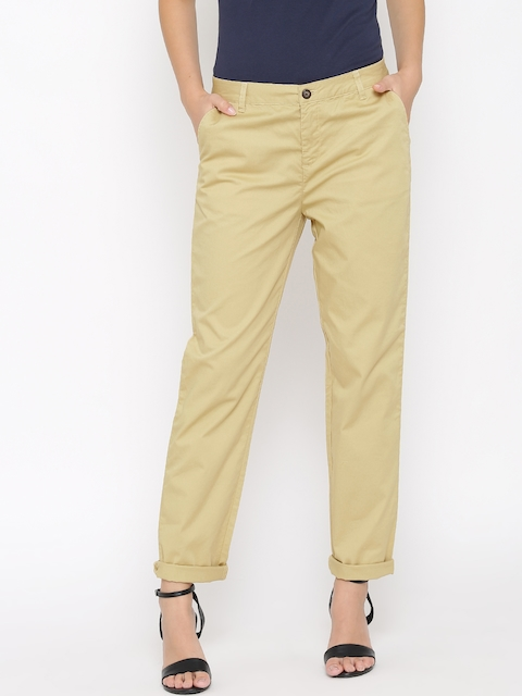 United Colors of Benetton Women Beige Flat-Front Trousers
