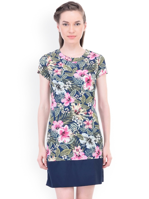 Oxolloxo Women Blue Printed A-Line Dress  available at myntra for Rs.399
