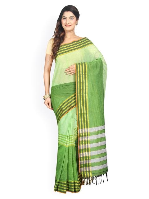 Pavechas Green Mangalagiri Cotton Traditional Saree