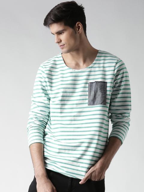 Scotch & Soda White & Green Striped Sweatshirt