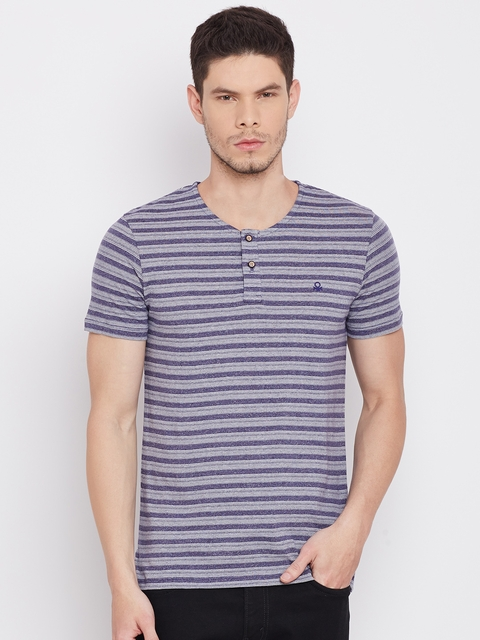 United Colors of Benetton Men Purple Striped Henley Neck T-Shirt