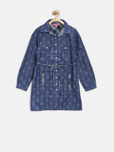 Biba Girls Navy Regular Fit Printed Tunic Shirt  available at myntra for Rs.584