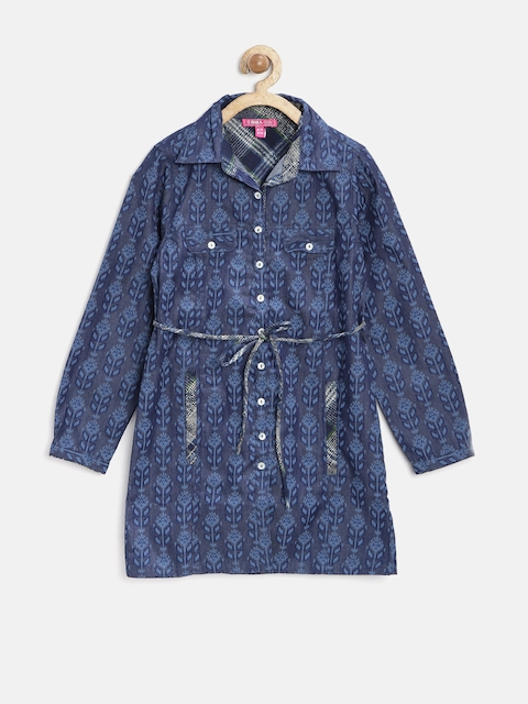 Biba Girls Navy Regular Fit Printed Tunic Shirt  available at myntra for Rs.674