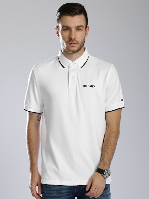 Tommy Hilfiger Men White Solid Classic Fit Polo T-shirt