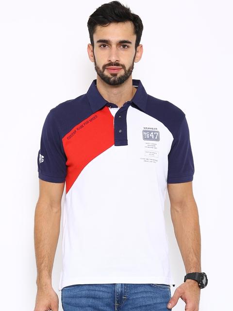 Wrangler Men White Colourblocked Polo Collar T-shirt  available at myntra for Rs.1077