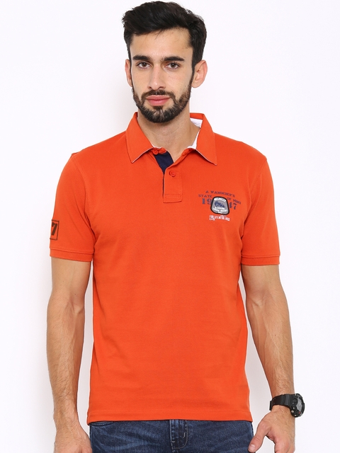 Wrangler Men Orange Solid Polo Collar T-shirt  available at myntra for Rs.678