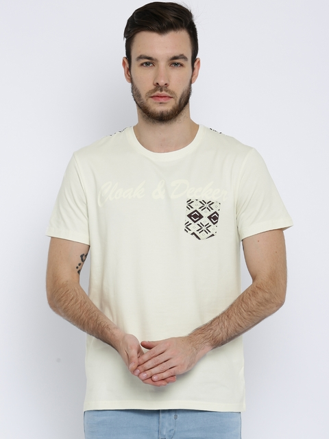 Monte Carlo Men Cream-Coloured Solid T-shirt