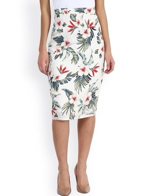 Miss Chase White Floral Print Pencil Skirt