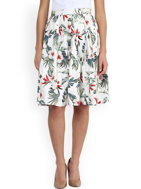 Miss Chase White Floral Print A-Line Skirt