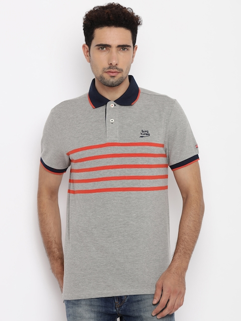 Being Human Men Grey Striped Polo Collar T-Shirt