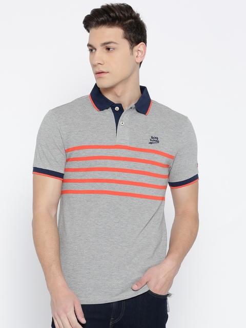Being Human Men Grey Striped Polo Collar T-Shirt