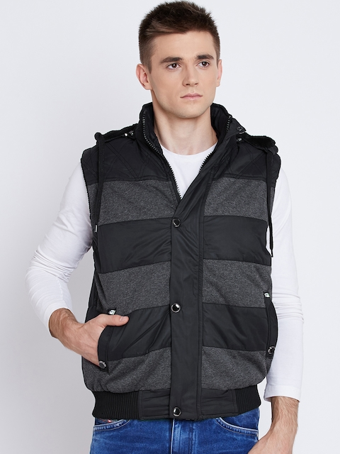 Fort Collins Black Striped Sleeveless Quilted Jacket with Detachable Hood