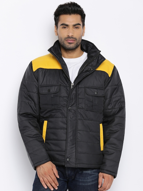 Fort Collins Black & Yellow Colourblocked Padded Hooded Jacket