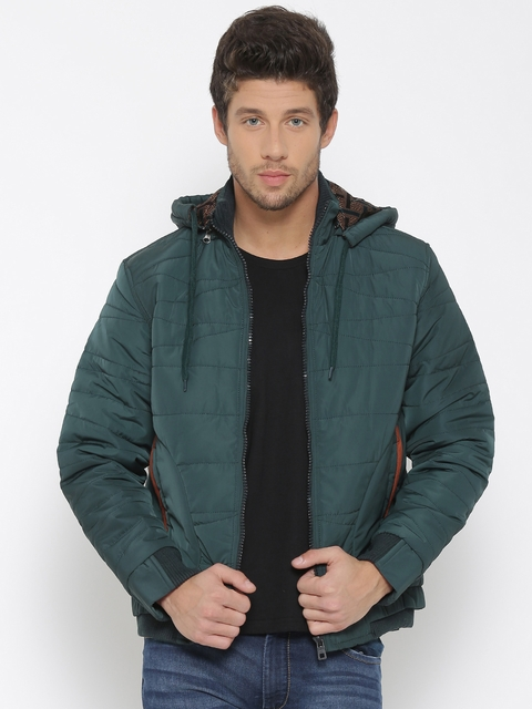 Fort Collins Teal Green Bomber Jacket with Detachable Hood