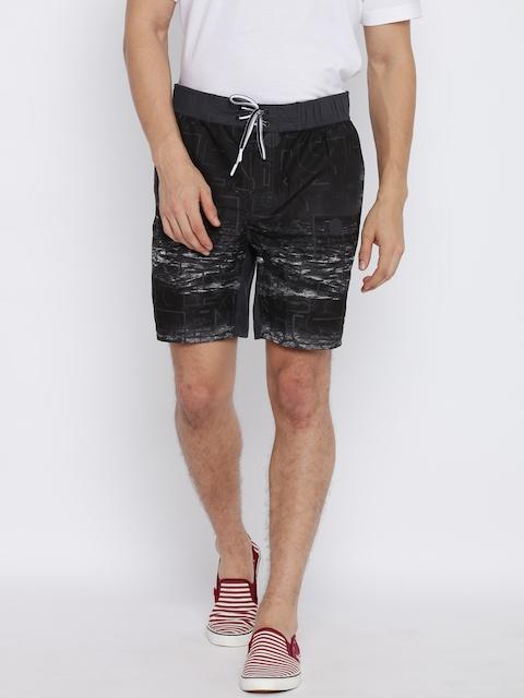 Jack & Jones Men Black Printed Regular Fit Lounge Shorts  available at myntra for Rs.997
