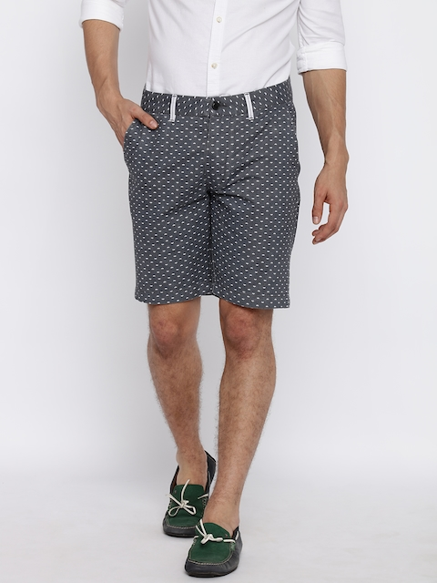 Jack & Jones Men Grey Printed Regular Fit Shorts  available at myntra for Rs.997