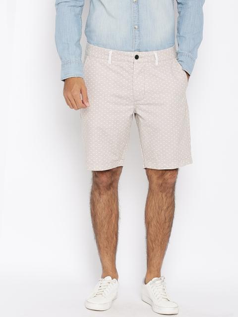 Jack & Jones Men Grey Printed Chino Shorts  available at myntra for Rs.997
